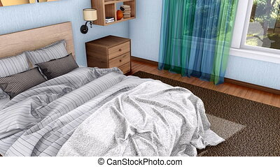 Double bed in modern bedroom interior 3D