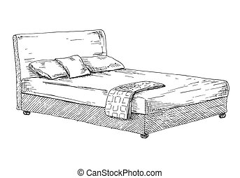 Double bed isolated on white background. Vector illustration in sketch style