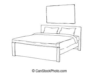 Double bed isolated on white background. Vector illustration in sketch style.