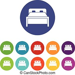 Double bed set icons