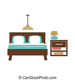 Double bed, table with lamp, chandelier on ceiling in...