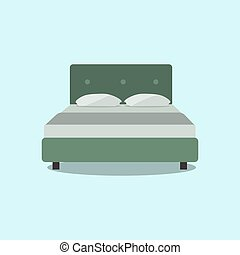double bed, web icon isolated on light green background. . front view Flat design Vector Illustration