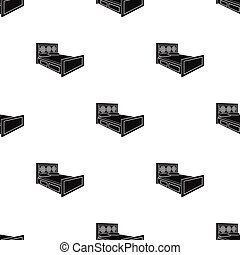 Double bed with red sheets.Bed with brown wooden headboard.Bed single icon in black style vector symbol stock illustration.