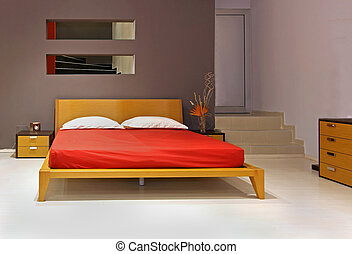 Double bedroom - Modern bedroom interior with wooden double...