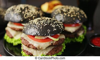 Double beef burger with vegetables and cheese - Yummy double...