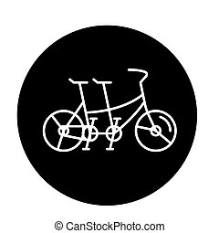 Double bike black icon, vector sign on isolated background....