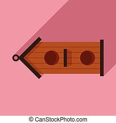Double bird house icon, flat style