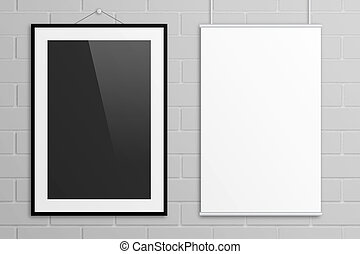 Double black and white poster mock up with frame on grey brick wall