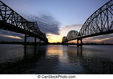 Double bridges at sunset in Morgan City Louisiana.