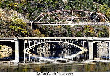 Double Bridges Over Bull Shoals Lake