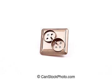 double brown electric socket on the white background