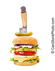 Double burger with chicken, tomatoes, pickles, pineapple and rucola isolated on white