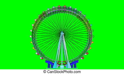 Double Carousel Colorful Animation On Green Screen. Use your...