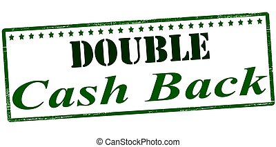 Double cash back - Stamp with text double cash back inside,...