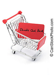 Double cash back words written on red paper card in shopping...