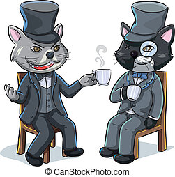 cartoon illustration of two cats drinking a hot coffee