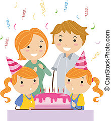 Illustration of Twins Celebrating their Birthday