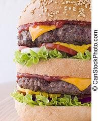 Double Cheese Burger In A Sesame Seed Bun