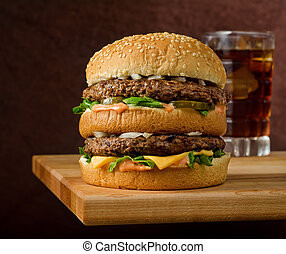 Double Cheeseburger and Soda