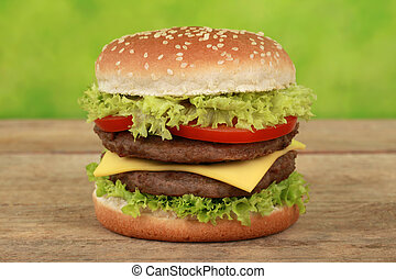 Double Cheeseburger with beef, tomatoes, lettuce and cheese
