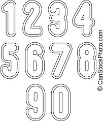 Double clear delicate line retro numbers set, vector light...