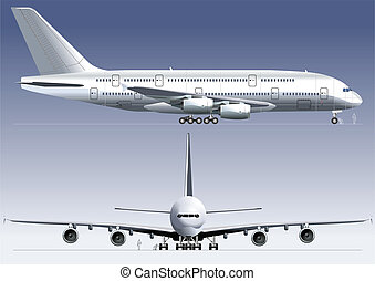 Double-deck Lagest Jetliner a380. Available EPS-8 vector format separated by groups and layers for easy edit