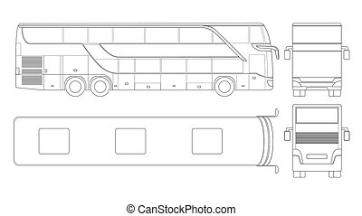 Double-deck multi-axle luxury touring coach outline. Commercial vehicle. Intercity bus vector illustration. View from side, front, back, top