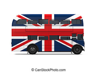 Double Decker Bus Britain Flag isolated on white background....