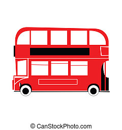 double decker bus - illustration of british red double...