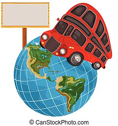 Double decker bus on a planet