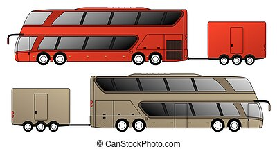 Double decker bus with attached trailer