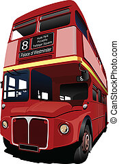 double decker, londres, vec, bus., rouges