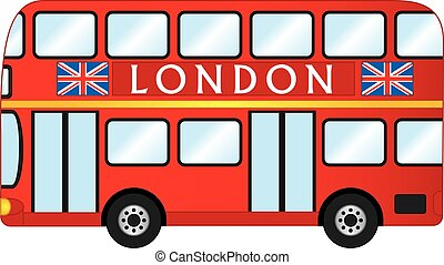 double decker, vecteur, bus., londres, rouges