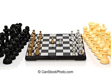 double defence - gold and silver chess on a white background