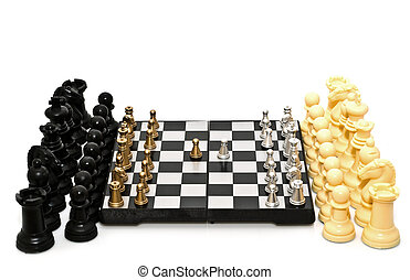 double defensive - gold and silver chess on a white...