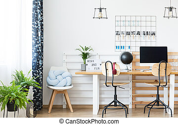 Double desk in study
