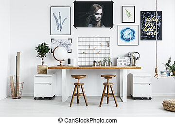 Double desk with accessories