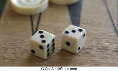 double dice on backgammon - Shot of double dice on...