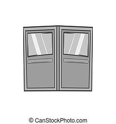 Double door for restaurant icon, monochrome style