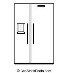 Double door fridge icon, outline style