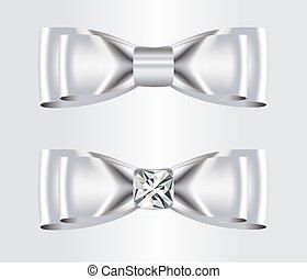 Double Elegant White Silk Bows with Diamond