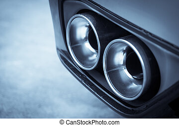 Double exhaust pipe - Close up shot of a car's double...