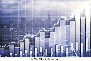 Double exploration with city view and business chart
