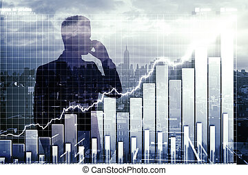 Double explosure with business chart and businessman talking on the phone