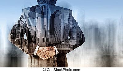 double exposition, de, homme affaires, et, résumé, ville, comme, concept