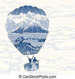 Double exposure, Balloon with travelers enjoying landscape,...