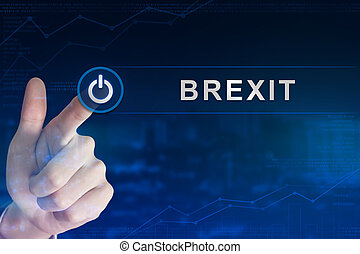 business hand clicking brexit or british exit button