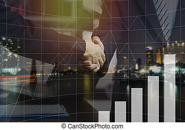 double exposure businessman shaking hand and night city, concept in corporate and communicate to success