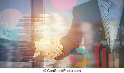 double exposure businessman shaking hand, coins and night city, concept in corporate and communicate to success