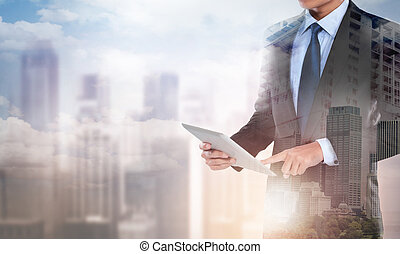 double exposure businessman working with new modern computer tablet show social network structure